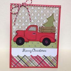 Eva's Scraps N' Cards: Merry Christmas Vintage Truck Card using Cricut Just Because cartridge