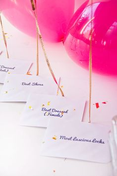 Balloons strung with sequin trim instead of ribbon