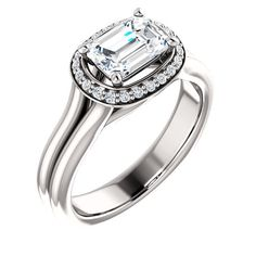 1.0 Ct Emerald Diamond Engagement Ring 14k White Gold – Goldia.com