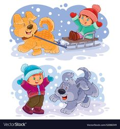 Buy Set Clip Art Illustration Small Children Play by vectorpocket on GraphicRiver. Set of winter vector clip art illustration small children play outside with their dogs Kids Playing, Adobe Illustrator, Vector Free, Pikachu, Christmas Cards, Illustration Art, Clip Art, Children Play, Kids Rugs