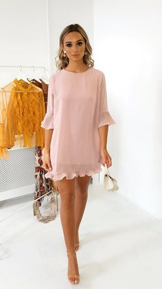 Lolo Frill Shift Dress at ikrush Casual Party Dresses, Cute Dresses, Short Dresses, Dress Party, Smart Casual Party Dress, Long Casual Dresses, Classy Party Outfit, Elegant Summer Dresses, Cute Dress Outfits