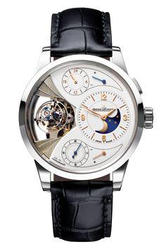 Essentials: the hottest travel accessories: Jaegar LeCoultre's Duomètre Sphérotourbillon Moon model luxury watch.