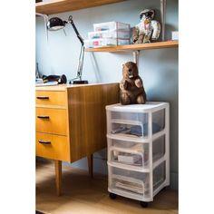 EDA PLASTIQUE Tour de rangement - 3 Tiroirs avec roulettes - Noir et naturel - 32 x 37 x 61 cm Magazine Rack, Storage, Box, Home Decor, Inspiration, Products, Key Lock, Drawers