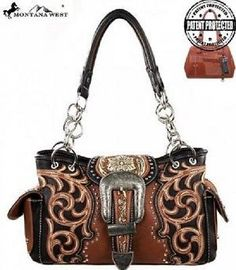 Montana West Concealed Carry Buckle Floral Purse Brown