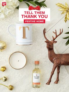 Say thank you with festive home accents that they'll treasure (and love looking at). A luxe gold candle, Inspirations from Hallmark reindeer and monogrammed mug lend a cozy atmosphere to any space.