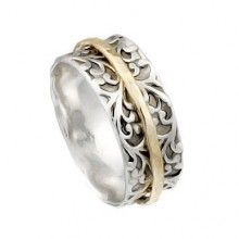 Silver Spinning Ring with Goldfilled band