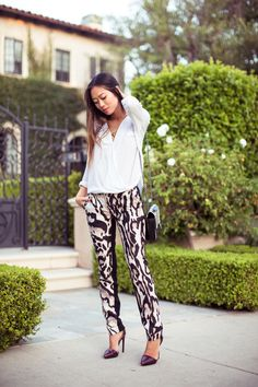My pants! She's rockin' my pants. Songofstyle-DVF-leopardpants