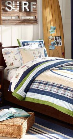Boys Surfing Bedding, Northshore Quilt #bedrooms