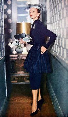 Vogue, 1951 50s new look navy dress peplum blue color photo print ad model magazine