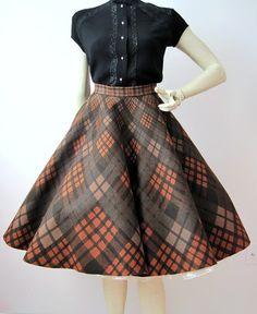 50s Skirt Vintage Plaid Felt Fall Colors Circle by voguevintage