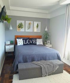 55 small bedroom ideas for your home 2 Modern Bedroom Design, Master Bedroom Design, Home Decor Bedding, Bedroom Decor, Bedroom Ideas, Bedroom Shelves, Bedroom Signs, Room Interior, Interior Design