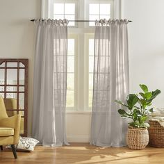 Elrene Home Fashions Vienna Tie-Top Sheer Curtain Panel, 52 x 84 Sheer Curtains Bedroom, Curtains Living, Sheer Drapes, Off White Curtains, Natural Curtains, Country Curtains, Modern Curtains, Sheer Curtain Panels, Panel Curtains
