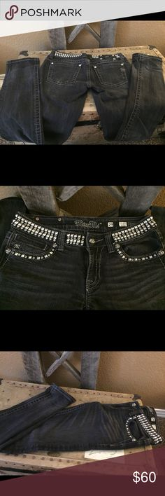Miss Me Skinny jeans studded black denim Black denim skinny jeans from Miss Me with studs around the waist and pockets Miss Me Jeans Skinny