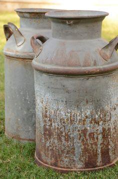 Rustic Dairy farm | ... country rustic farm outdoor decor antique dairy garden urn rusty