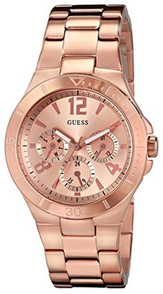 GUESS Womens U13624L1 Active Shine MultiFunction Rose GoldTone Sport Watch * Click image for more details.