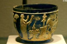 Roman cameo glass J. Pierpont Morgan cup (early 1st C) at Corning Museum of Glass. Corning, NY. Photo by Jim Steinhart.