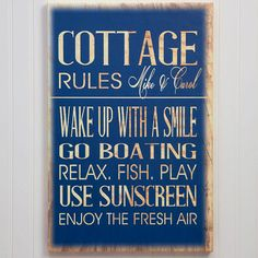 13986 - Beach House Rules Personalized Canvas Print