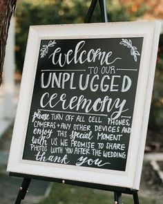 Bright Bunting Chalk No Phone Camera Unplugged Personalised Wedding Sign