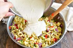 pouring dressing into the mixing bowl of cooked pasta and vegetables Chex Mix Recipes, Easy Salad Recipes, Pasta Recipes, Cooking Recipes, Snacks Recipes, Cooking Ideas, Diet Recipes, Homemade Macaroni Salad, Macaroni Salad Ingredients