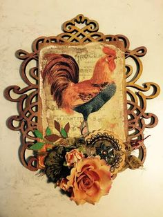 Bits n Pieces-: I Gotta Crow-A step by step tutorial on how to make this gorgeous piece of art using many of Finnabair's Art Basics by Prima Mixed Media Art, Mix Media, Art Basics, Hens And Chicks, Crow, Rooster, Art Pieces, Christmas Ornaments, Holiday Decor