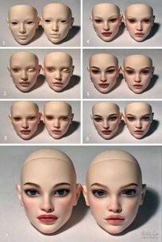 Процесс Polymer Clay Sculptures, Polymer Clay Dolls, Polymer Clay Miniatures, Doll Crafts, Diy Doll, Sculpting Tutorials, Human Doll, Doll Makeup, Doll Tutorial