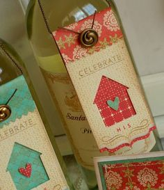 Wine Bottle Hang Tags - for your new home! clever idea got to try. Wine Bottle Tags, Wine Tags, Bottle Box, Beer Bottle, Wine And Beer, Card Tags, Paper Crafts, Crafty, Auntie