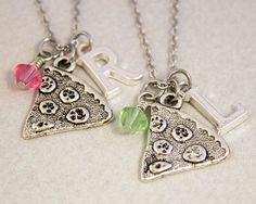 Two Best Friends Necklaces  Pizza Slice by CharmedByTwentySix7, $25.00