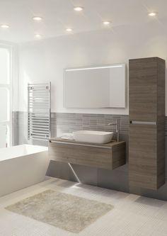 Bruynzeel badmeubel en hoge kast Faro in de kleur tortona / badkamerkast / badkamer idee / meuble salle de bain
