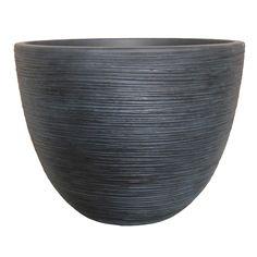 allen + roth 19.69-in x 14.76-in Blackwash Resin Shell Planter