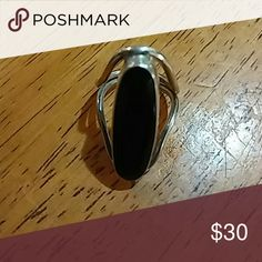 Silver and black stone ring Beautiful silver and black stone ring, perfect condition siza 7 Jewelry Rings
