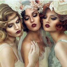 Vintage Wedding Makeup For Brown Eyes Gatsby Hair Ideas Ideas Look Retro, Look Vintage, Make Up Looks, Bridal Makeup, Wedding Makeup, Hair Wedding, Wedding Fur, Wedding Veils, Party Makeup