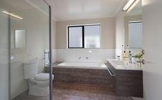 The main bathroom with earthy coloured tiles. Tiles, Color Tile, Color, Corner Bathtub, Main Bathroom, House, Home, Bathtub