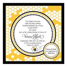 Bee Theme shower invite