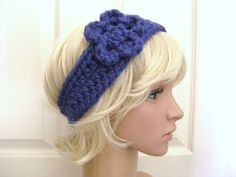 Bulky Blue Crocheted Head Band
