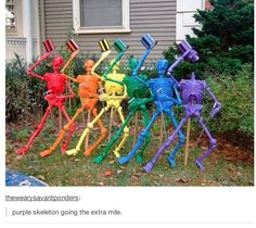 Dollar store decorations - spray paint skeletons, glue joints, and mount on stakes