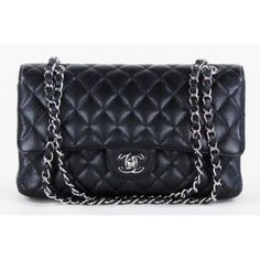 LOOK WHAT WE HAVE! Chanel Black Quilted Caviar Leather Medium Double Flap Bag