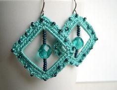 Inspiration_Mint green crochet earrings