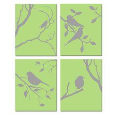 Bird nursery art. I'd go with the aqua shade.