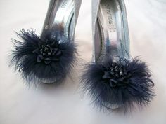 Navy Blue Lace Satin Organza Feather and Pearl Glamorous Shoe Clips Bridal…