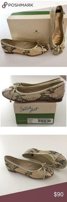 Kate Spade Playa Ballerina Flats Beige/Gold Kate Spade PLAYA Santa Fe Beige Gold New with box. Light shelf wear. Size 6 Leather soles. Metallic embossed fabric. kate spade Shoes Flats & Loafers