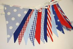 Nautical Blue, Red and White bunting available to hire from Bunting Queen, perfect for nautical themed events - from per metre. Nautical Bunting, Nautical Theme, Cheer Skirts, Red And White, Colours, Queen, How To Make, Handmade, Stuff To Buy