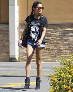 The lady is a vamp: Vanessa Hudgens unleashed her inner goth as she stepped out in a rathe...