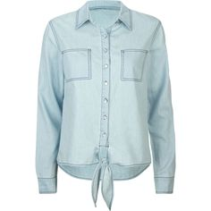MIMI CHICA Basic Womens Tie Front Chambray Shirt ($15) ❤ liked on Polyvore