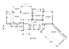 First Floor Plan image of Halstad Craftsman Ranch House Plan; I like the basic design of house, master, kitchen/dining/living Garage House Plans, House Plans One Story, House Plans And More, Craftsman Style House Plans, Ranch House Plans, Story House, Modern House Plans, House Floor Plans, Car Garage