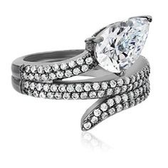CZ by Kenneth Jay Lane Pear Round Cubic Zirconia Snake Coil Adjustable Ring, Size 5-7