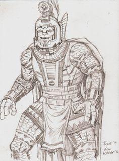 "A pencil sketch of the character created by Jack Kirby, ""Ajax""! Pencil artwork by Rene Arreola | www.myartscreative.com"