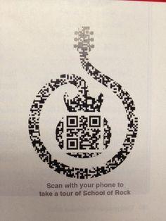 musicQR School of Rock magazine ad with QR Code. Beautifull QR Code in their logo! Ad Design, Branding Design, Graphic Design, Type Design, Icon Design, Layout Inspiration, Logo Design Inspiration, Barcode Art, Plakat Design