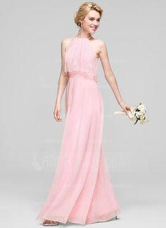 £ A-Line Princess Scoop Neck Floor-Length Chiffon Bridesmaid Dress With  Ruffle - JJsHouse 0cc29f6aa758
