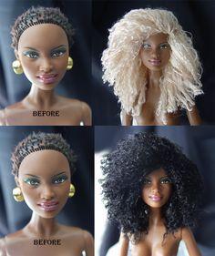 Bratz Doll, Barbie Dolls, Doll Hair Repair, Barbie Hairstyle, Barbies Pics, African American Dolls, Wig Making, Black Barbie, Doll Repaint