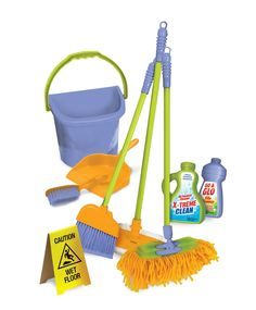 Amazon.com: Durable Kids Cleaning Set with Pretend Play House Cleaning Tools - Duster, Broom, Brush, Mop, Dust Pan, Water Bucket and Wet Floor Sign: Toys & Games